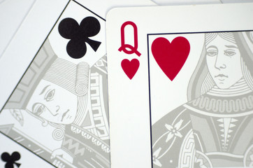Closeup of classic playing cards with love separation concept massage.