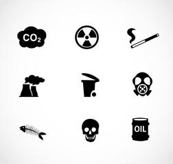 Pollution icon set vector