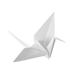 Origami paper crane. Vector illustration