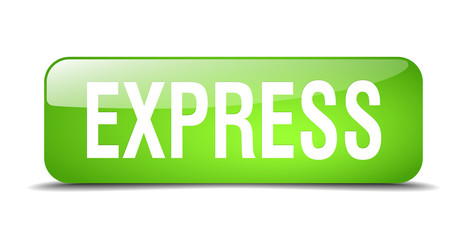 express green square 3d realistic isolated web button