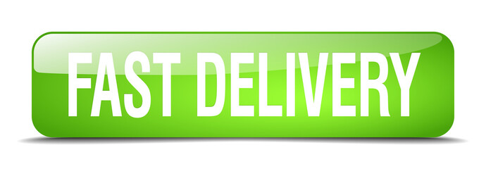 fast delivery green square 3d realistic isolated web button