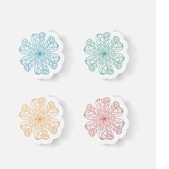 Realistic paper sticker: flowers.