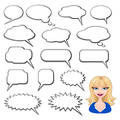 Speech Bubbles and Blonde Girl Avatar