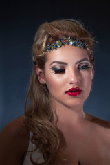 Latina Girl in Sparkling Headband and Bright Red Lipstick