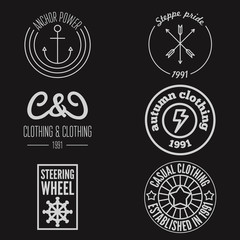 Set of logo, sticker, emblem, print, label or logotype elements