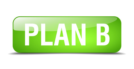 plan b green square 3d realistic isolated web button