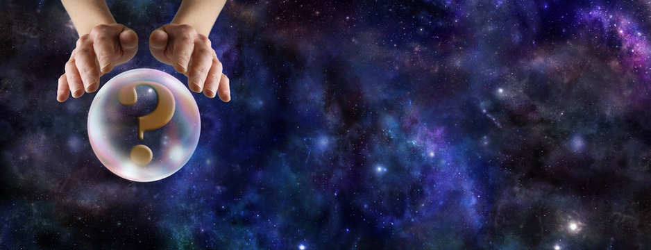 What does the Crystal Ball Reveal  -  Wide deep space background with a fortune teller's hands hovering over a crystal ball containing a question mark on left hand side and copy space on right side
