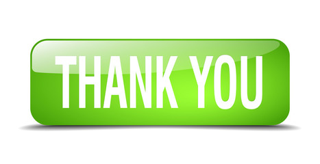 thank you green square 3d realistic isolated web button