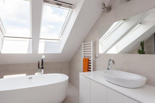 Skylight in designed bathroom