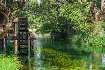 水車が回る川辺 安曇野