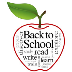 Back to School, education apple read, write, learn, word collage