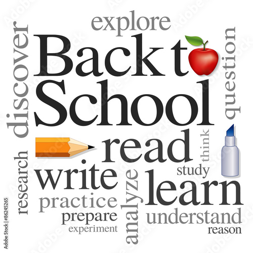 Back To School Education Apple Read Write Learn Word Collage