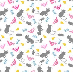 Cat&Rat seamless pattern