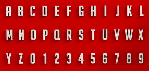 White letters and numbers on red background