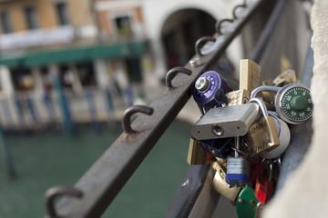 Lot padlock on the Rialto Bridge