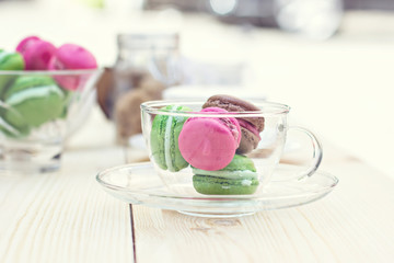Colorful traditional French Makarons