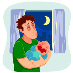 tired father carrying a crying baby at night