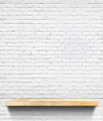 Empty Wooden shelf at white tile ceramic wall,Template mock up f