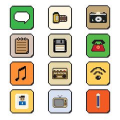 pixels art application smartphone icon style vector illustration