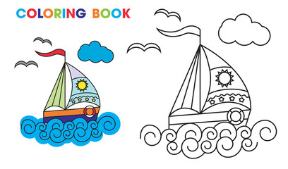 coloring book. sailboat on the waves, to teach kids at home or
