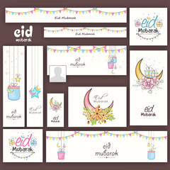 Social media ads or banners for Eid Mubarak celebration.