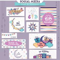Eid Mubarak celebration social media ads or headers.
