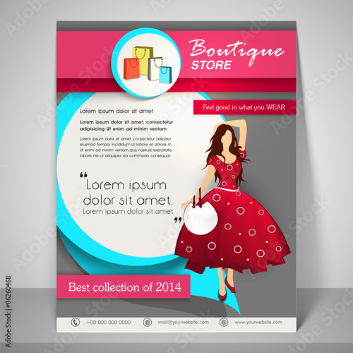 brochure design for boutiques - stylish brochure flyer and template for boutique stock