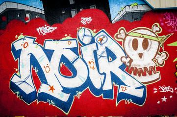 Mur de graffiti inscription noir