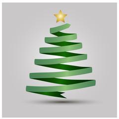 Stylized ribbon Christmas tree with yellow star.