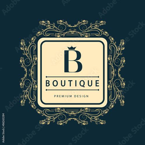 Monogram design elements graceful template elegant line for Hotel b design