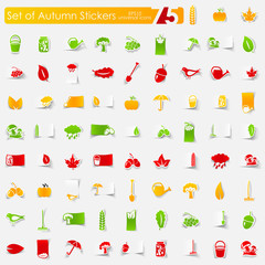 Set of autumn stickers