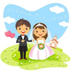 wedding Invitation couple cartoon, cute character design - vector illustration