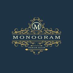 Monogram design elements, graceful template. Calligraphic elegant line art logo design. Letter emblem M. Business sign for Royalty, Boutique, Cafe, Hotel, Heraldic, Jewelry, Wine. Vector illustration