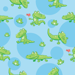 Seamless pattern with cartoon crocodiles and frogs on a blue background.