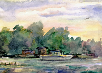 White small ship (yacht) in the bay on the lake, on the water, the trees, summer afternoon.