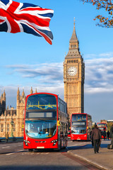 Foto auf Leinwand London roten bus Big Ben with buses in London, England, UK