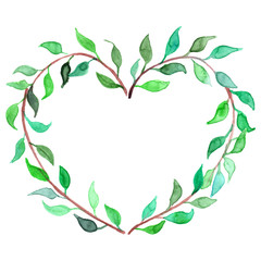 Watercolor heart shaped plant branch wreath vector isolated