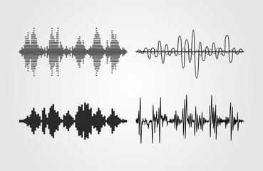 Set of vector sound waves. Audio equalizer technology, pulse musical. Can be used in club, radio, pub, party, concerts, recitals or the audio technology advertising background.