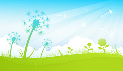 Spring background scene with dandelions vector illustration