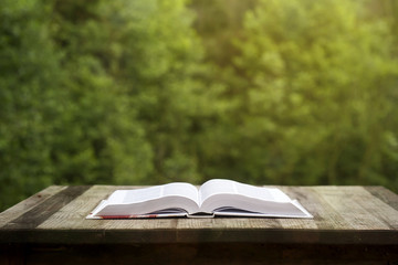 oponed book on a wooden garden table