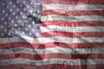 colorful waving united states of america flag on a euro money background