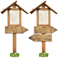 Wooden Directional Signs with Roof / Two empty wooden directional sign with roof isolated on white background with green grass, daisies flowers and a ladybug