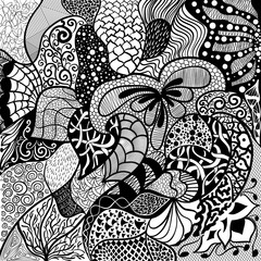 Floral hand drawn zentangle, ethnic, doodle background