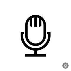 Microphone vector icon. Isolated on a white background. Retro st