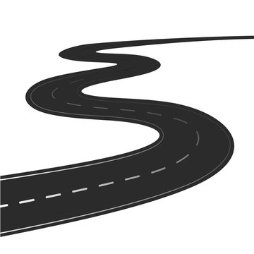 Winding road isolated