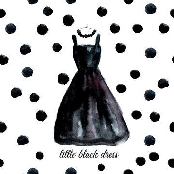 Vector watercolor black dress on polka dot background.