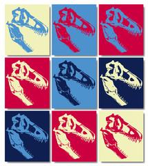 Crane fossile pop art d'un tyrannosaure