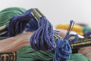Close-up of stranded cotton thread, dark-blue color