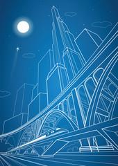 Train move on the bridge, night city and big bridge on background, vector design
