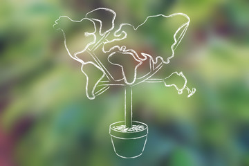 tree with foliage in shape of world map